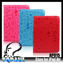 factory price funky stand case cartoon 360 degree rotatable pu case for ipad air