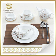 Wholesale royal bone china dinner set, used restaurant dinnerware, plate for wedding decoration