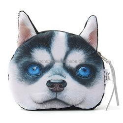 Fashion Cartoon Wallet Lovely Cute Dogs Cartoon 3D Huskie Print Animal Face Purse Girl Kids Children Wallet Mobile Phone Bag