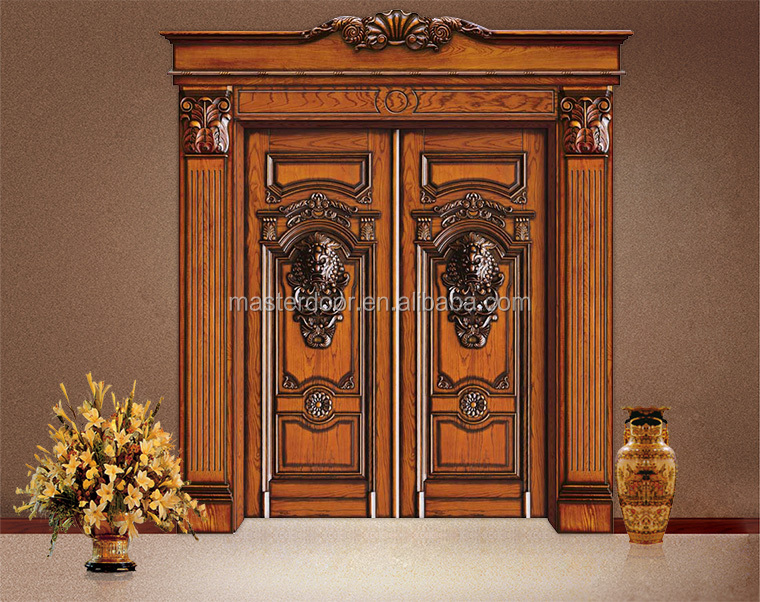 South indian modern solid wood front safety door designs for Front door design in india