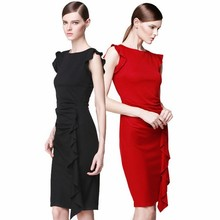 Stylish Lady Women Red and black frill O-neck Cap Sleeve Solid Ruffles Casual evening Party Dress SV015455