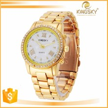 wholesale big dial 24k gold watches quartz watch for girl
