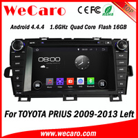 Wecaro Android 4.4.4 car stereo in dash for toyota prius car dvd gps mirror link left hand drive 2009 - 2014