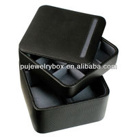 Factory price MDF square shape black PU leather 9 grid watch and jewelry storage & display box with shantung