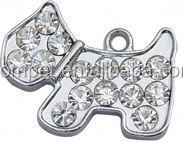 Hanging full rhinestone zinc alloy dog pendant