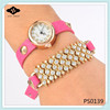 PS0139 Unique Gold Plated Double Wrap Bracelet Pink Leather with Rhinestones pave watch for women
