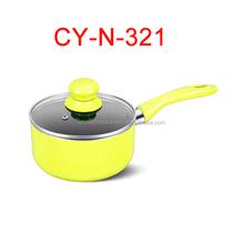 yellow coated ceramic mini saucepan commercial kitchen utensil