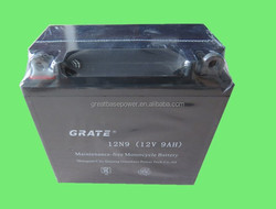 Maintenance free battery manufacturer lead acid 12v 9ah 12v rechargeable electric motorcycle battery