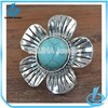Unique antique style alloy material big jewelry bridal design turquoise flower ring
