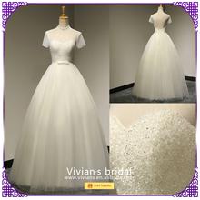 Custom made luxurious short sleeves very long tail wedding dress JR021