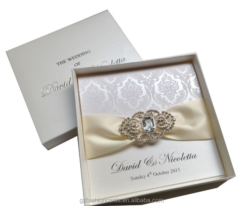 Luxury Flocked Wedding Invitations Boxed Wedding Invitations Brooch Weddi