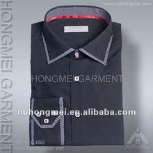latest designs long sleeve formal slim fit black dress shirt for men