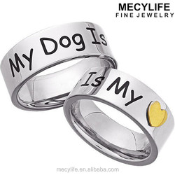 MECY LIFE stainless steel high polishing fashion simple cute charming 'My Dog Is My Heart' Memory Ring