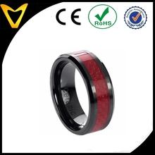 Men's Ceramic Red Carbon Inlay Ring Flat Top Design,Nice Male Ceraimic Rings