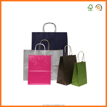 color paper shoppers with handles custom logo