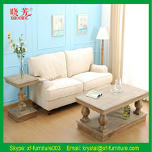Best Selling Antique Solid Oak Wood white leather lounge suite
