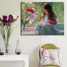 designs of fabric painting modern portrait oil painting little girls Canvas Oil Painting for living room decoration kids room
