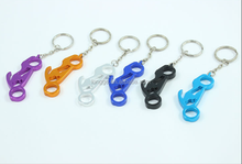 Blue bike aluminum bottle opener keyring