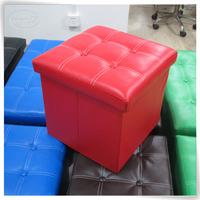Luxury multifunctional leather pouffe,pouf,folding storage stool