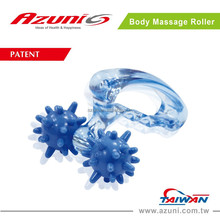 [ PATENTED ] Mini Portable Clear Blue Body Relax Roller Massager / Body Arms Legs Massager / 2 Wheels Massage Roller