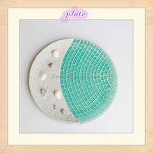 Home Decorative Mosaic Glass Fruit Plate,Round Mosaic Candle Plate