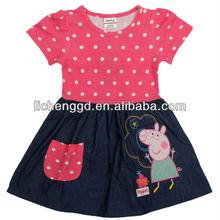 ( h4725) fucsia 2-6y nova kids niña bonita peppa pig vestido de princesa vestidos de verano para los niños