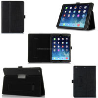 Flip leather protective case for ipad air with pen holder and hand strap