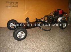 black thick fiberglass deck 49cc gas motor skateboard