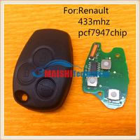 car key for renault 3 button remote key control 433mhz 7947 chip without uncut keys blade