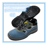 EN ISO 20345:2011 2015 suede leather upper dual density PU outsole blue hammer safety shoes
