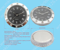 silver or gold plating metal casing good quality 37mm insert clock with Japanese watch movement