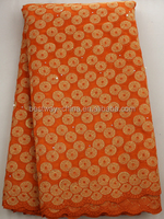 african orange lace with sequins and beads/organza lace with sequence
