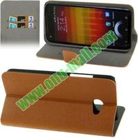 Wood Texture leather flip case for htc butterfly s 9060 with Card Slots and Stand