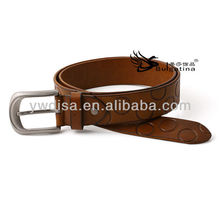 Brown Mens Western Leather Metal Belts With Round Ring Printed BC4540G-2