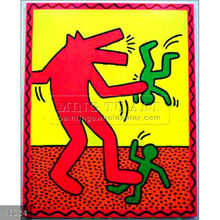 Handmade Keith Haring abstract Oil painting, Untitled, 1982,enamel and dayglo on metal