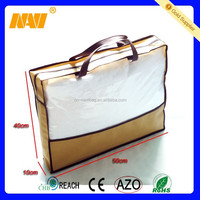 Plastics non-woven handle PVC blanket bag packaging bag with zipper