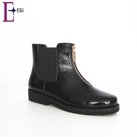 hot sale new arrival PU women zipper flat ankle boots shoes