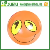 Funny wholesale promotion PVC inflatable smiley beach ball