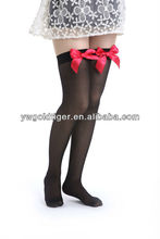 Latest Design Promotion Exclusive Sexy Sweetheart Anti-slip Plain With Love Heart Red Bow As Nurse Model Stocking