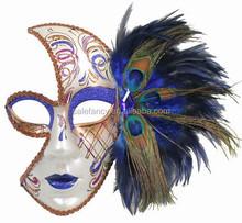 Elegant Party Queen Venetian Costume Masquerade Parade Real Feather Mask QMAK-2071