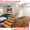 Popular Villa wrought iron stair / Steel Wood Stairs / Glass Steel Stairs