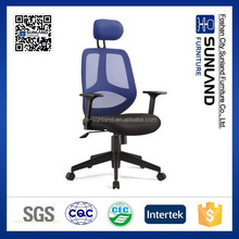 modern high back office chair with black mesh seat and blue back