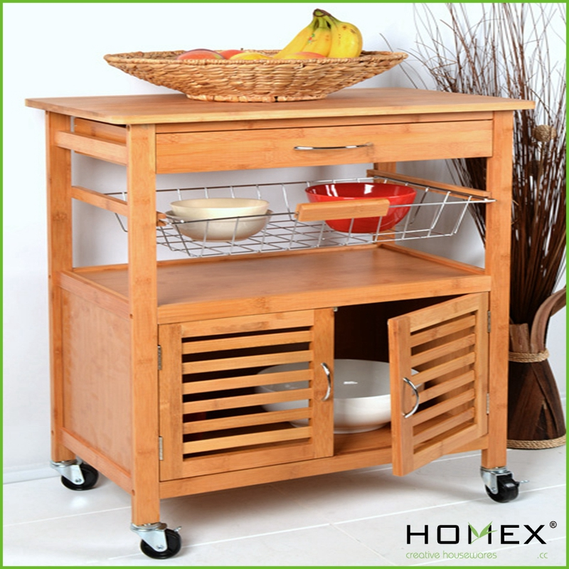 Bamboo kitchen trolley with caninet homex - Kitchen cabinets trolleys pictures ...