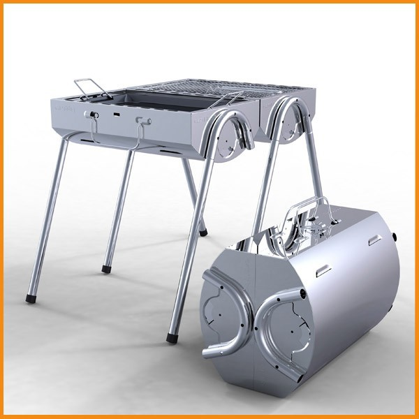 Stainless steel portable outdoor charcoal rotisserie bbq