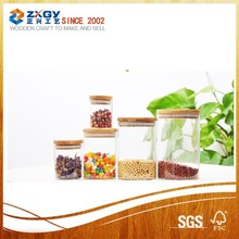 450ml-750ml Round transparent glass jar with bamboo lid for food storage