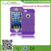 Protective Case Purple Silicone Cover with Clear Sparkly Glitter Design phone case for zte z992 phone cover