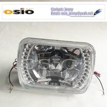 7' SQUARE BMC CRYSTAL GLASS LED HALO RING 12V/24VAuto Halogen Semi Sealed Beam Auto Halogen Lamp H4 or HID