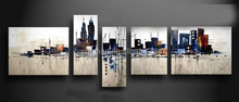 Abstract Oil Painting Art 5pcs /A Set Night New York City Landscape Modern Abstract Piece Wall Pictures By Hand Canvas Painting