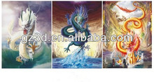 Chinese dragon 3d picture for promotional gift 3d pictures 3d 3 flips effect