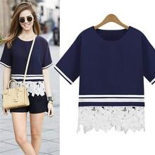 Factory Direct Wholesale Design T-Shirt New Arrivals Fashion Tops Navy Short Sleeve Lace Crochet Hem Blouse For Women